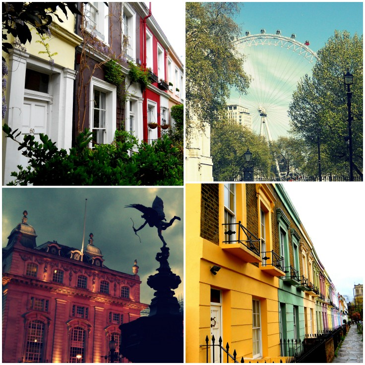 Houses on Portobello Road, the London Eye, Piccadilly Circus, and more colorful houses near Camden Market