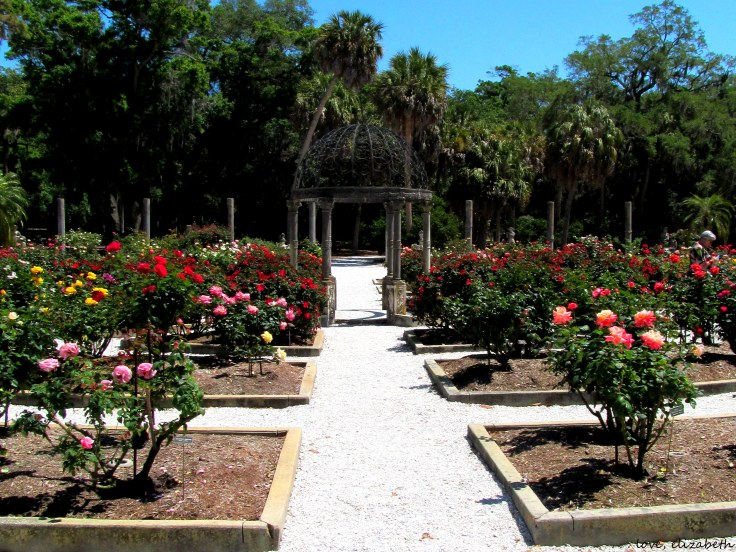 Gazebo in the center of the wagon-wheel shaped rose gardens