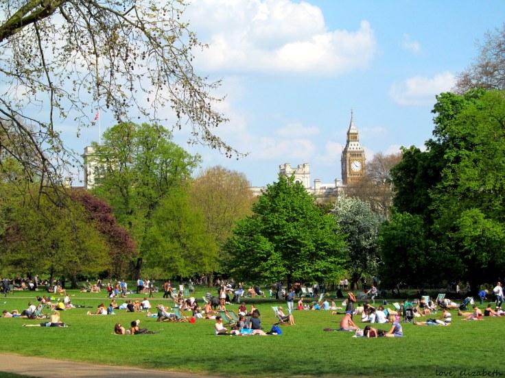 Sunbathers next to Parliament