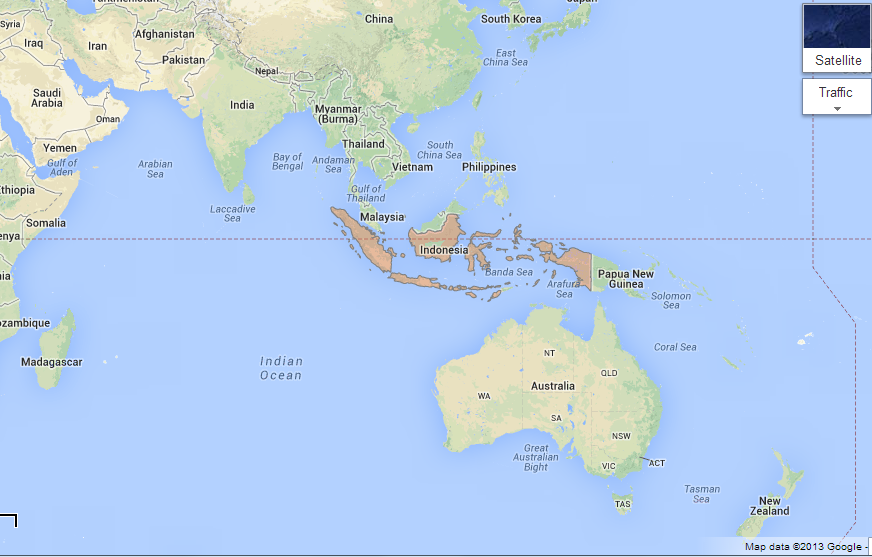 indonesia map with equator