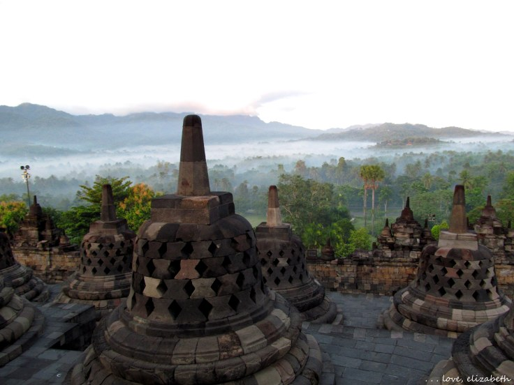 A view of Borobudur temple at dawn from my visit to Central Java.