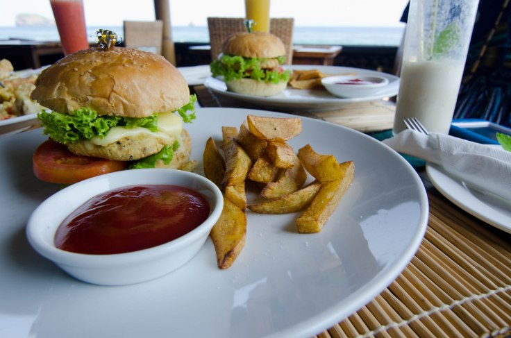 Veggie Burger by the Sea