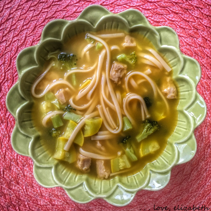 Seitan noodle soup